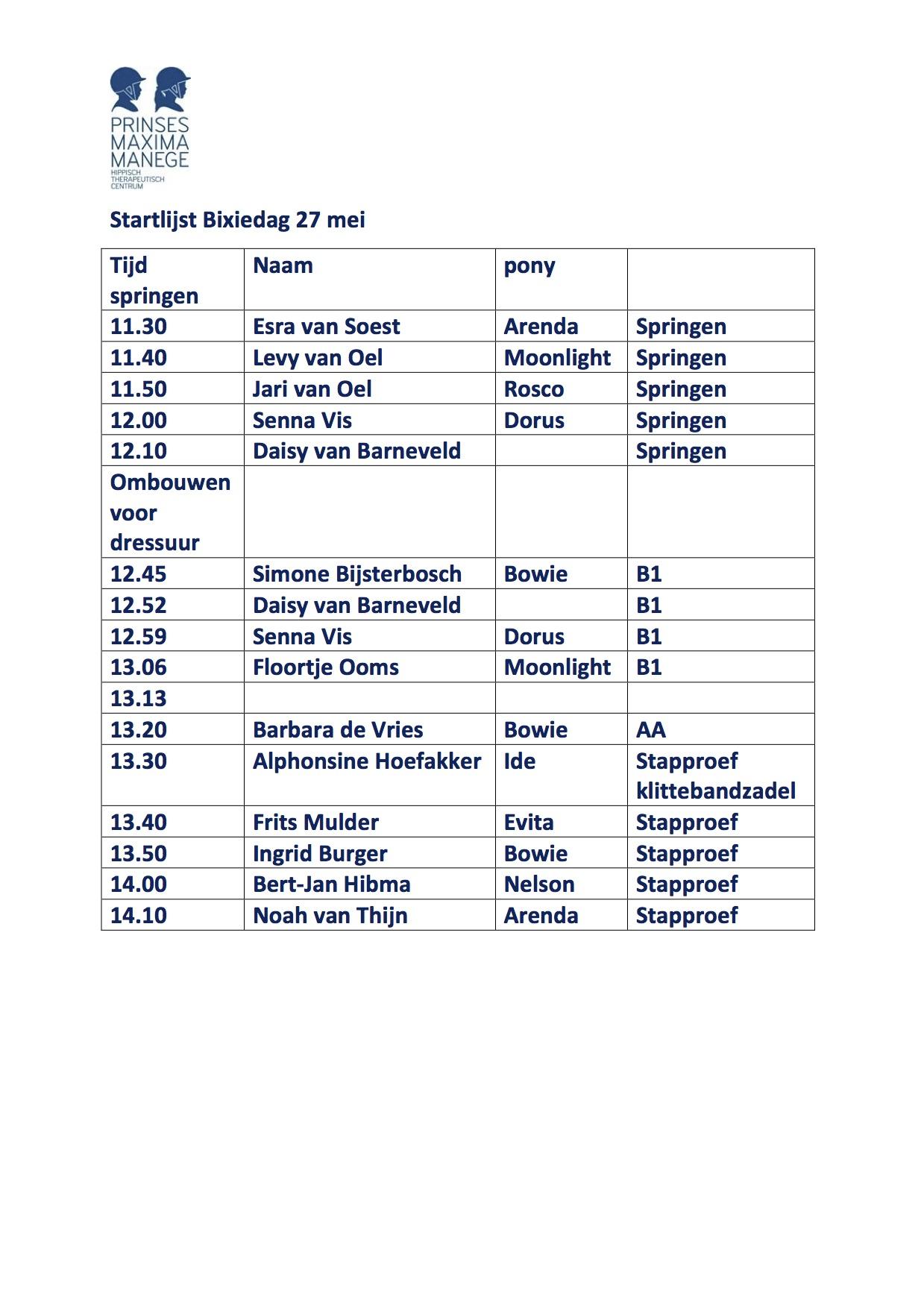 Startlijst bixiedag 27 mei