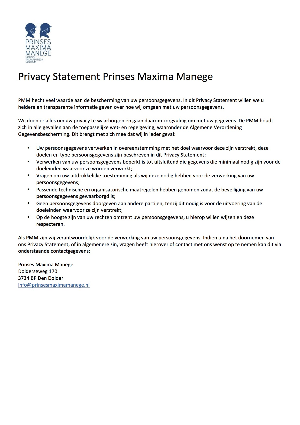 Privacy Statement PMM